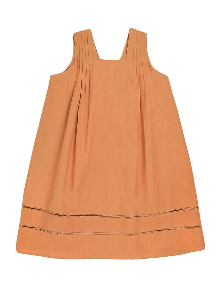 APRICOT PLEATED DRESS GIRL