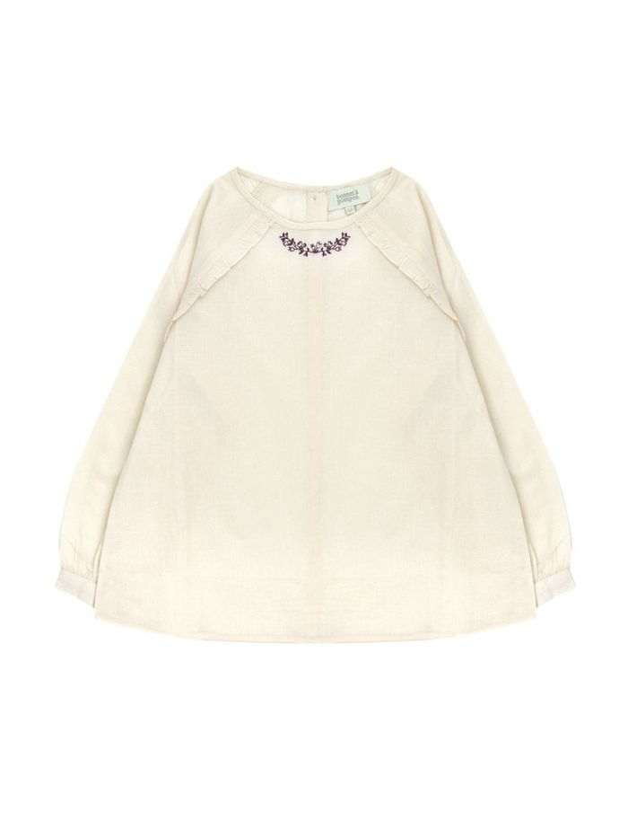 FRONT EMBROIDERED BEIGE BLOUSE