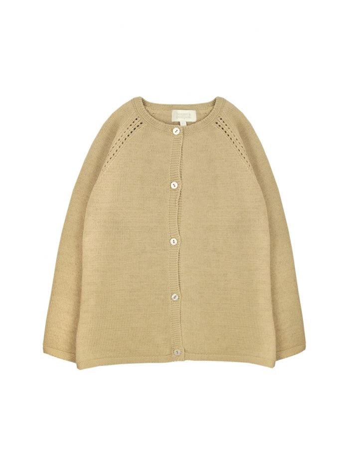 TAUPE KNITTED JACKET GIRL